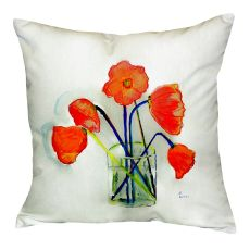 Poppies In Vase No Cord Pillow 18X18