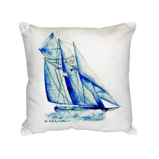 Blue Sailboat No Cord Pillow 18X18