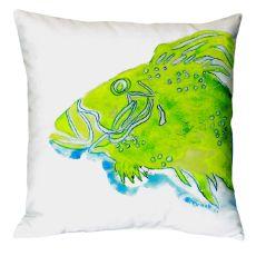 Green Fish No Cord Pillow 18X18