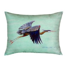 Flying Blue Heron - Teal No Cord Pillow 16X20