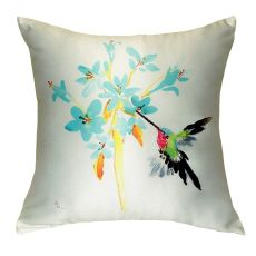 Blue Hummingbird No Cord Pillow 18X18