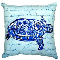 Sea Turtle Blue Script No Cord Pillow 16X20