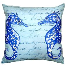 Blue Sea Horses No Cord Pillow 18X18