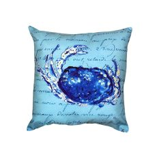 Blue Script Crab No Cord Pillow 18X18