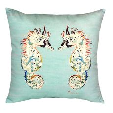 Betsy'S Sea Horses - Teal No Cord Pillow 18X18