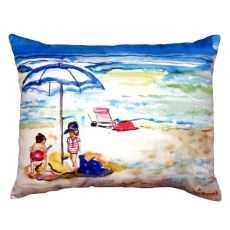 Playing On The Beach No Cord Pillow 16X20