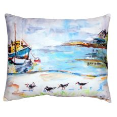 Boat & Sandpipers No Cord Pillow 16X20