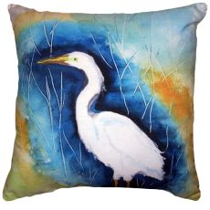 Great Egret Left No Cord Pillow 18X18
