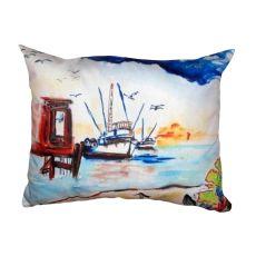 Dock & Shrimp Boat No Cord Pillow 16X20