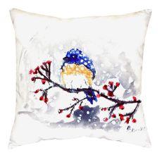 Blue Bird & Snow No Cord Pillow 18X18