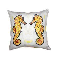 Gold Sea Horses No Cord Pillow 18X18