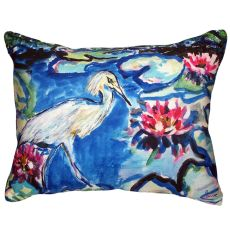 Heron & Waterlilies No Cord Indoor/Outdoor Pillow 16X20