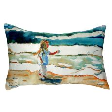 Girl At The Beach No Cord Pillow 16X20