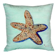 Starfish - Teal No Cord Pillow 18X18