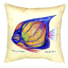 Blue Ring Angelfish - Yellow No Cord Pillow 18X18