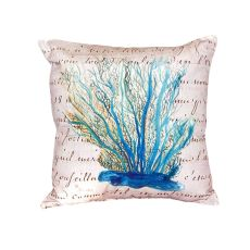 Blue Coral Beige No Cord Pillow 18X18