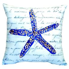 Blue Starfish No Cord Pillow 18X18