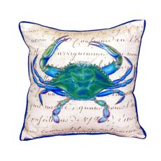 Male Blue Crab Beige Small Indoor/Outdoor Pillow 12X12