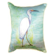 Snowy Egret Small Indoor/Outdoor Pillow 11X14