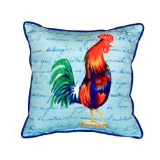 Blue Rooster Script - Small Indoor/Outdoor Pillow 12X12