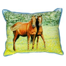 Two Horses Small Indoor/Outdoor Pillow 11X14
