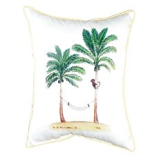 Palm Trees & Monkey Small Indoor/Outdoor Pillow 11X14