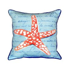 Coral Starfish Blue Small Indoor/Outdoor Pillow 12X12