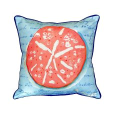 Coral Sand Dollar Blue Small Indoor/Outdoor Pillow 12X12