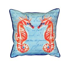 Coral Sea Horses Blue Small Indoor/Outdoor Pillow 12X12