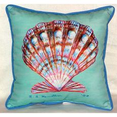 Scallop Shell - Teal Small Indoor/Outdoor Pillow 12X12
