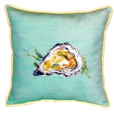 Oyster Shell - Teal Small Indoor/Outdoor Pillow 12X12