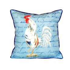 White Rooster Script Small Indoor/Outdoor Pillow 12X12