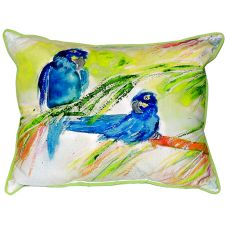 Two Blue Parrots Small Indoor/Outdoor Pillow 11X14