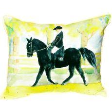 Black Horse & Rider Small Indoor/Outdoor Pillow 11X14