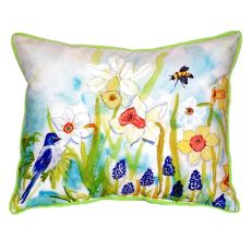 Bird & Daffodils Small Indoor/Outdoor Pillow 12X12