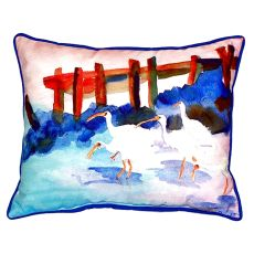 White Ibises Small Indoor/Outdoor Pillow 11X14
