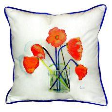 Poppies In Vase Small Indoor/Outdoor Pillow 12X12