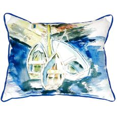 Three Row Boats Small Indoor/Outdoor Pillow 11X14