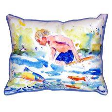 Boy & Fish Small Indoor/Outdoor Pillow 12X12
