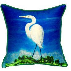 Great Egret Small Indoor/Outdoor Pillow 12X12