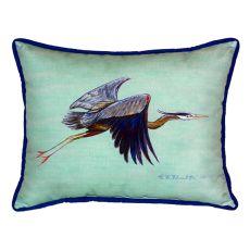 Flying Blue Heron - Teal Small Indoor/Outdoor Pillow 11X14