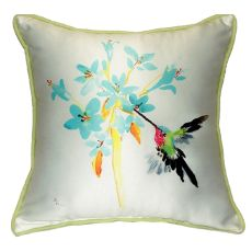 Blue Hummingbird Small Indoor/Outdoor Pillow 12X12