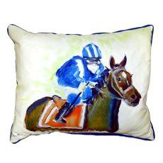 Horse & Jockey Small Indoor/Outdoor Pillow 11X14