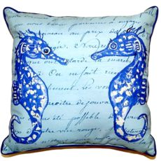 Blue Sea Horses Small Indoor/Outdoor Pillow 12X12