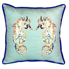 Betsy'S Sea Horses - Teal Small Indoor/Outdoor Pillow 12X12