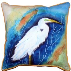 Great Egret Right Small Indoor/Outdoor Pillow 12X12