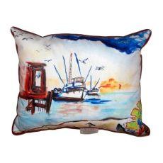 Dock & Shrimp Boat Small Indoor/Outdoor Pillow 11X14