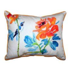 Bird & Roses Small Indoor/Outdoor Pillow 11X14