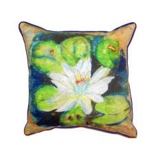 Water Lily On Rice Small Indoor/Outdoor Pillow 12X12