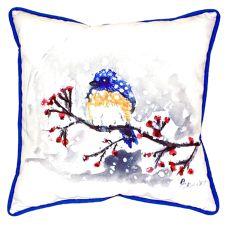 Blue Bird & Snow Small Indoor/Outdoor Pillow 12X12